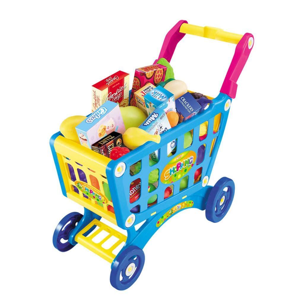 TRULIL M/énage Playsets Jouets Chariot Enfant Shopping Cart Chariot de supermarch/é Ensemble de Jeu avec des Fruits L/égumes Jouet Panier /à provisions avec Roues pour gar/çons Filles 3/4/5/Ans