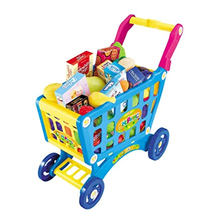 Supermercado Juguete Carrito Carrito Carrito de compras Juguete con frutas y verduras
