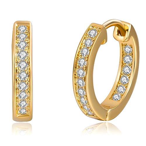 5f1990ebd4ea 18K Oro Blanco Chapado Aretes con Diamante con Zirconia Cúbica ...