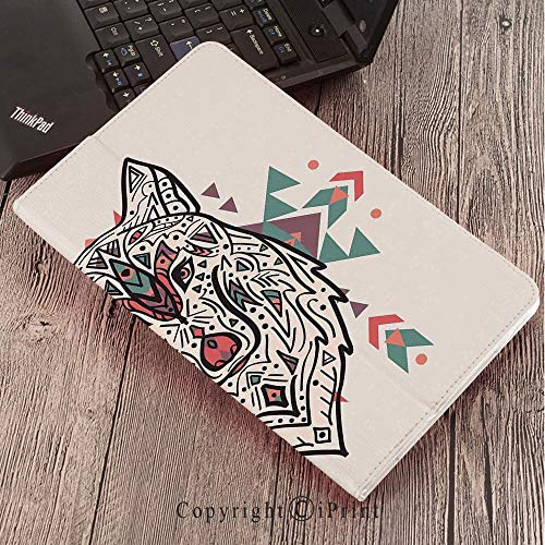 Lion Head Pedestal - Case for Samsung Galaxy Tab S3 9.7 T820 T825 Slim Folding Stand Cover PU Case, Tribal Decor,Charming Lion Like Wolf Head with Paisley Ethnic Ornaments Print,Pearl Coral and Teal