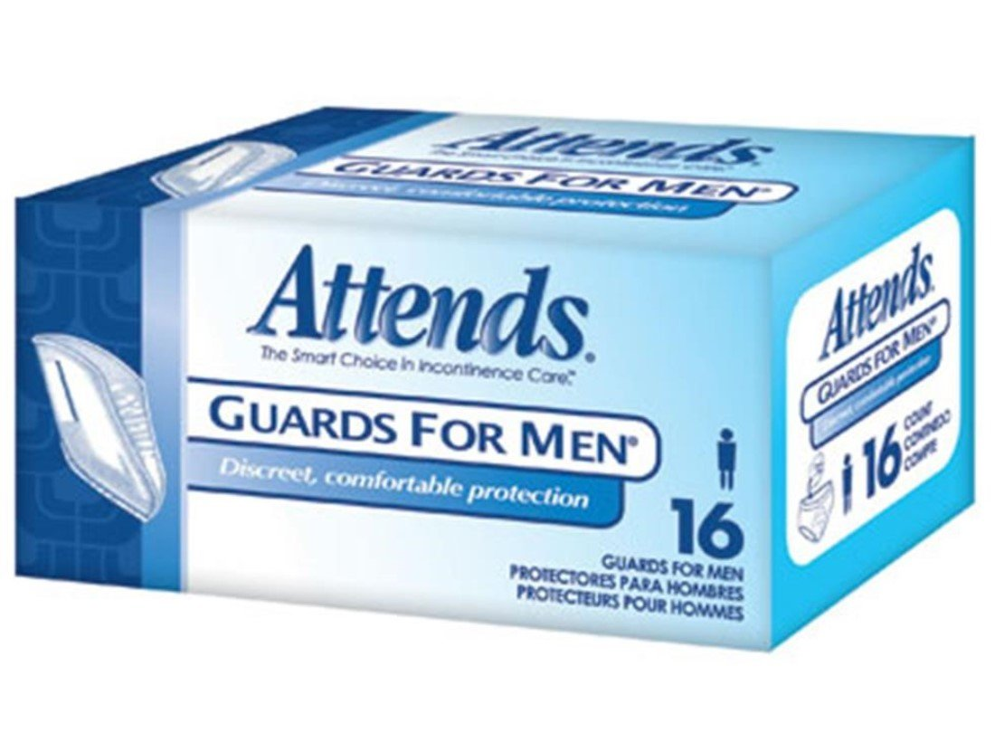 Attends Guards for Men 4 packs of 16 = 64/Case