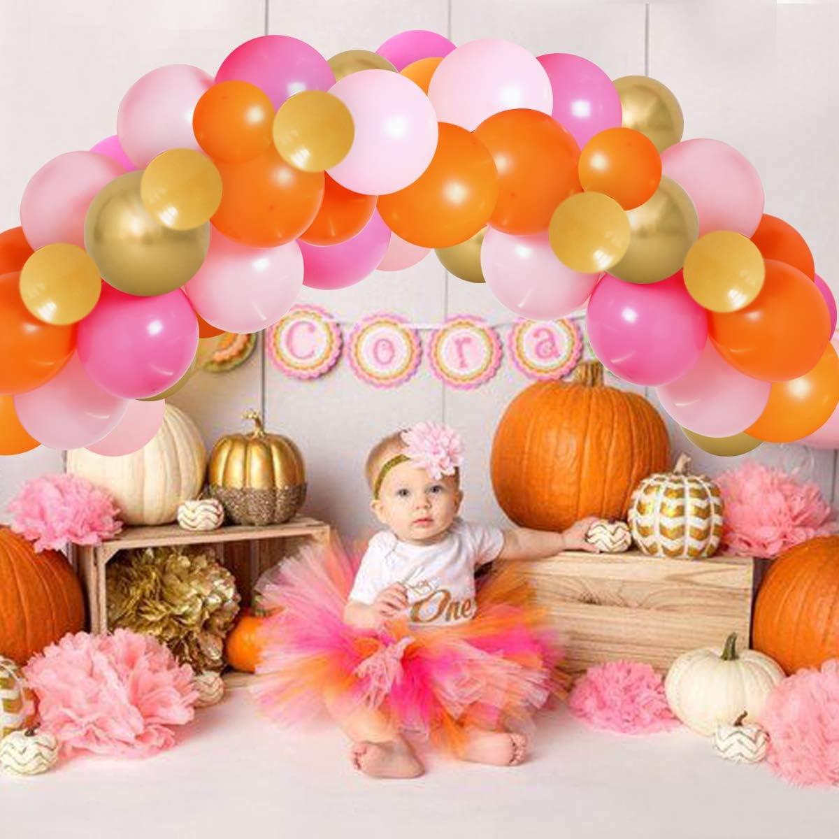 Pumpkin Balloon Garland Kit for Girls Fall Little Pumpkin Theme Baby Shower Birthday Orange Yellow Pink Decorations 80 pack