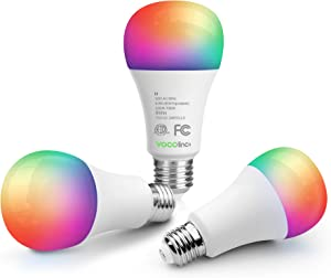 VOCOlinc Smart Wi-Fi LED Light Bulb A21 9.5W (60W Equiv.) Multicolor and Whites Dimmable Works with Apple HomeKit (iOS 13+) Alexa Google Assistant No Hub Required 2.4GHz SmartGlow (3 Pack)