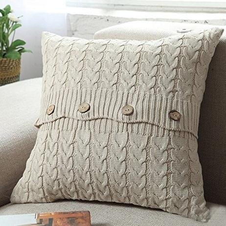 Fashion Cable Knitted Decorative Cotton Square Throw Pillow Cushion Cover 18