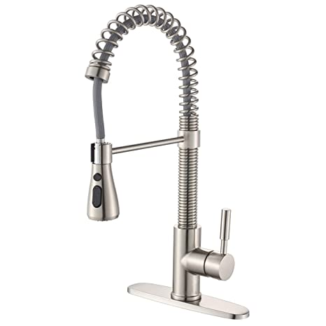 """ENUS 1016SS Single Handle 20"""" Height Commercial Kitchen Faucet with Pasue  Button Spray Pull Down Kitchen Sink Faucets with Deck Plate, Brushed Nickel"""