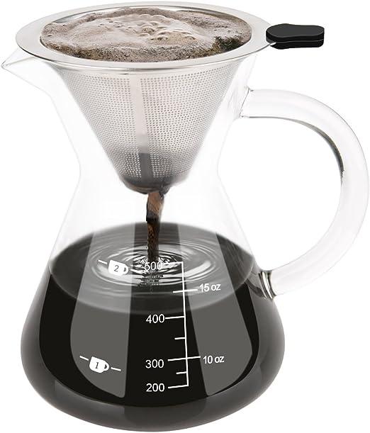 Luxebell Cafetera de Goteo de Cristal, Jarra de Café con Filtro Permanente de Acero Inoxidable (500 ML): Amazon.es: Hogar