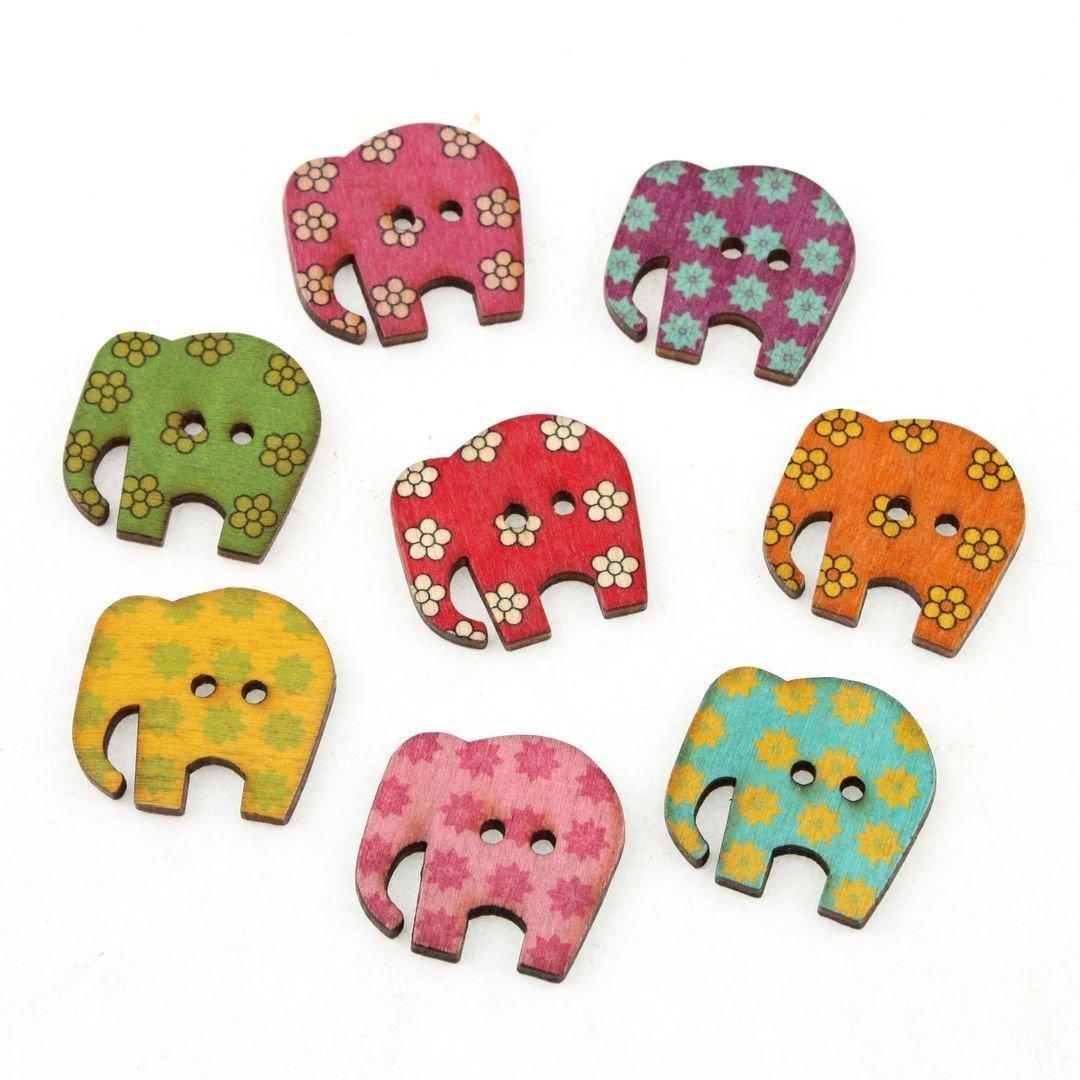 Hangood 50 Piezas Botones De Madera para Coserlas Manualidades Elefante Animal del Gato del Caballo: Amazon.es: Hogar
