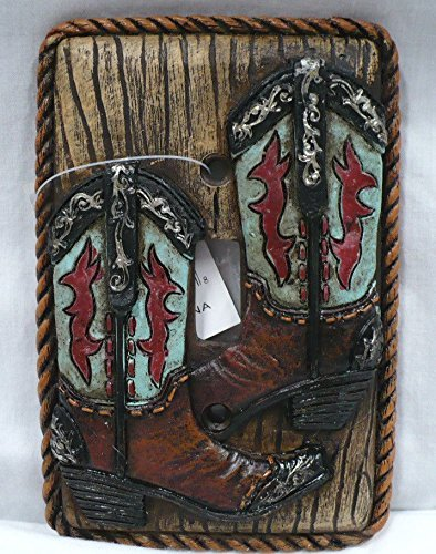 Rainbow Trading RA 4780 Western Turquoise Boot Decorative Single Switch Plate - Covers Horse Light Switch