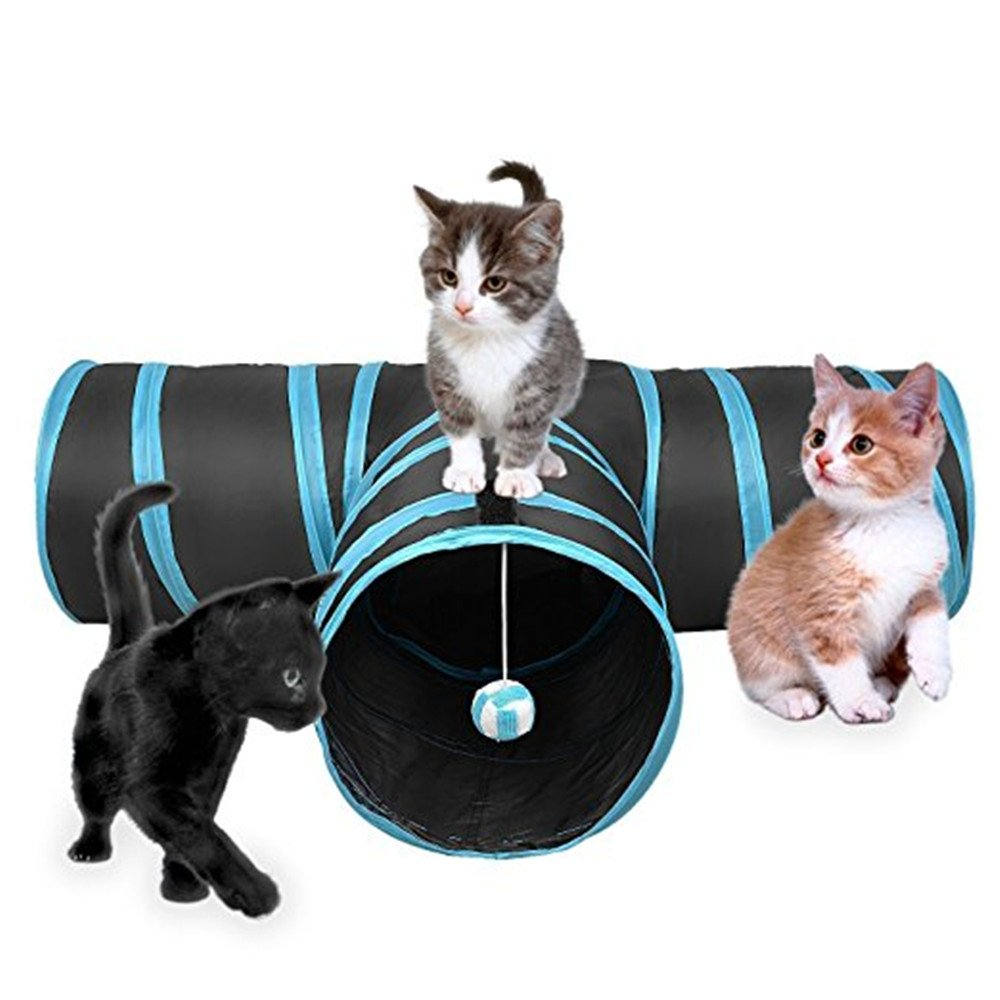 YongYiTong Pet Cat Tunnels,3 Ways Play Tunnels with Ball for Cats and Dogs Pets Collapsible Interactive Toys