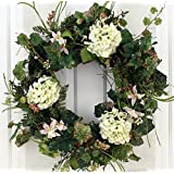 White Silk Hydrangea And Lilly Front Door Wreath 22 Inch  Handcrafted On A  Grapevine Wreath