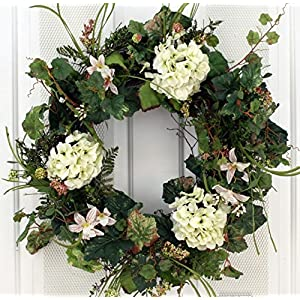 White Silk Hydrangea and Lilly Front Door Wreath 22 Inch -Handcrafted on a Grapevine Wreath Base- Display in Spring, Summer and Late Winter. 118