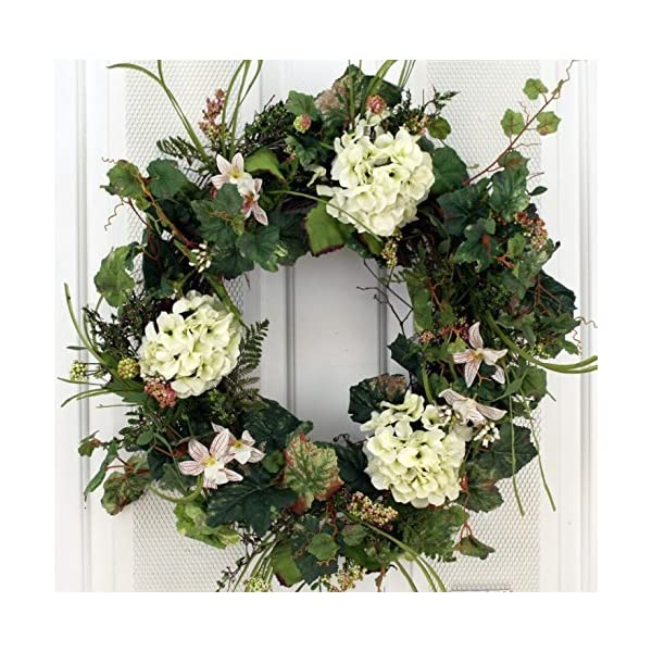 White Silk Hydrangea and Lilly Front Door Wreath 22 Inch -Handcrafted on a Grapevine Wreath Base- Display in Spring, Summer and Late Winter.
