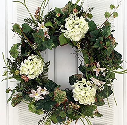 Amazon Com White Silk Hydrangea And Lilly Front Door Wreath 22 Inch