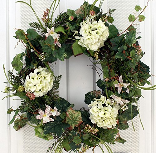 White Silk Hydrangea and Lilly Front Door Wreath 22 Inch -Handcrafted on a Grapevine Wreath Base- Display in Spring, Summer and Late Winter. -