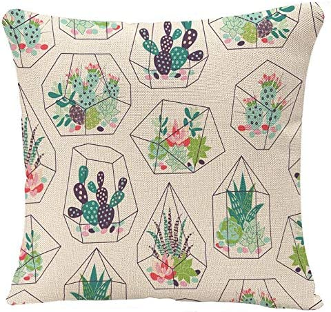 YGGQF Pillow Covers CactusSucculents and CactusesInky in Glass Terrariums Trendy Tropical Design Flower Desert Pillow Case Cushion Cover for Home Decor 18 x 18 Inches Square Pillowcase