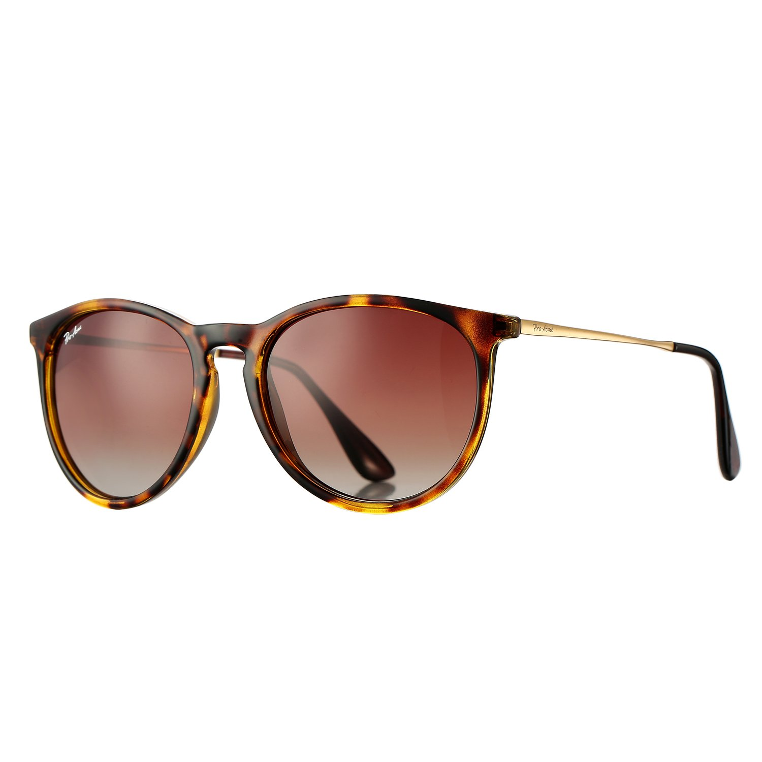 Polarized Sunglasses for Women Classic Round Style 100% UV Protection (Tortoise; Gold/Brown Gradient)