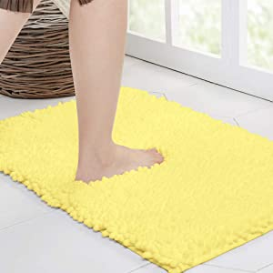 Walensee Bathroom Rug Non Slip Bath Mat (24x17 Inch Yellow) Water Absorbent Super Soft Shaggy Chenille Machine Washable Dry Extra Thick Perfect Absorbant Best Small Plush Carpet for Shower Floor
