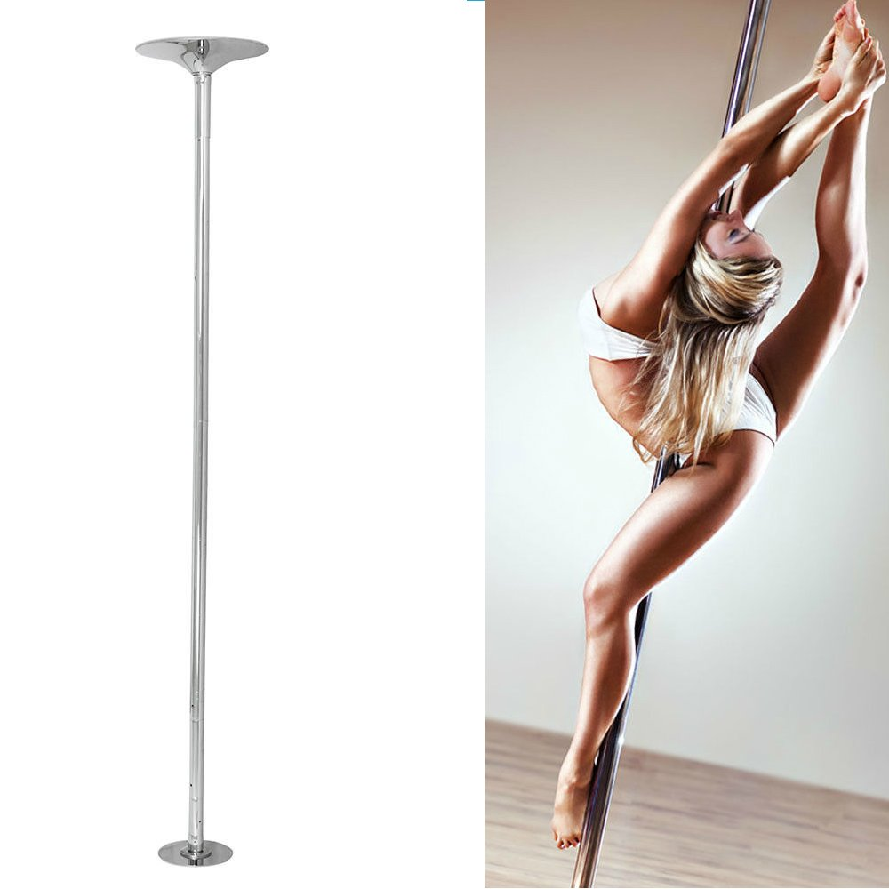 Portable Dance Pole Set | Spinning Static Universal Stripper Exercise Fitness Club Party Dancing Show | Chromed Steel