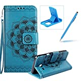 Rope Leather Case for Samsung Galaxy J530 2017,Strap Wallet Case for Samsung Galaxy J530 2017,Herzzer Bookstyle Classic Elegant Mandala Flower Pattern Stand Magnetic Smart Leather Case with Soft Inner for Samsung Galaxy J530 2017 + 1 x Free Blue Cellphone Kickstand + 1 x Free Blue Stylus Pen - Blue