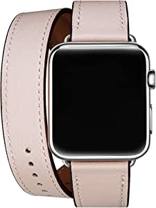 WFEAGL Compatible Watch Band, Top Grain Leather Band Replacement Strap for Watch Series 5,Series 4,Series 3,Series 2,Series 1,Sport Edition (Pink Sand Double Tour Band, 42mm 44mm)