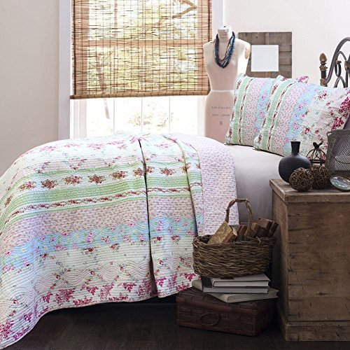 Chic Quilt Fabric - Cozy Line 100% Cotton Lightweight Simply Vintage Cottage Bedding Quilt Set Pink Roses Floral Patchwork Bedspread, 3 Pieces Full/Queen (Wild Rose, Full/Queen - 3 Piece)