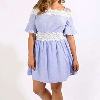 Amazon.com: SRYSHKR Womens Plus Size Blue Stripe Lace Patchwork Trim Cold Shoulder Skater Dress: Clothing