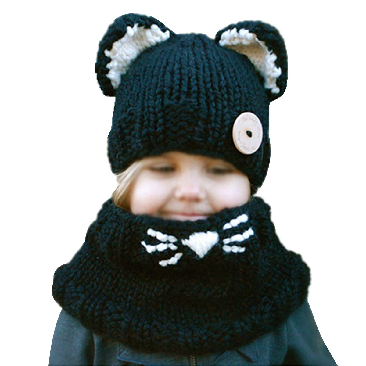 Amazon.com  Rebecca Toddler Kids Knitted Hat Crochet Cartoon Cat Ear Beanie  Winter Warm Headwear Cap Infant Wool Skull Cap and Scarf Set (Black)   Clothing 392f34c2650