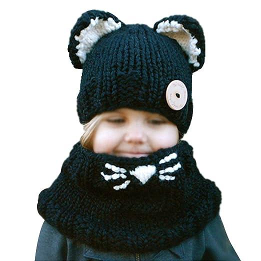 b9675b12c0a Rebecca Toddler Kids Knitted Hat Crochet Cartoon Cat Ear Beanie Winter Warm  Headwear Cap Infant Wool
