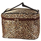 DDLBiz Leopard Print Cosmetic Bags Women Travel Makeup Bag (Brown)