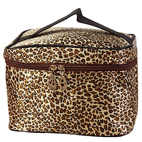 DDLBiz Leopard Print Cosmetic Bags Women Travel Makeup Bag (Brown)