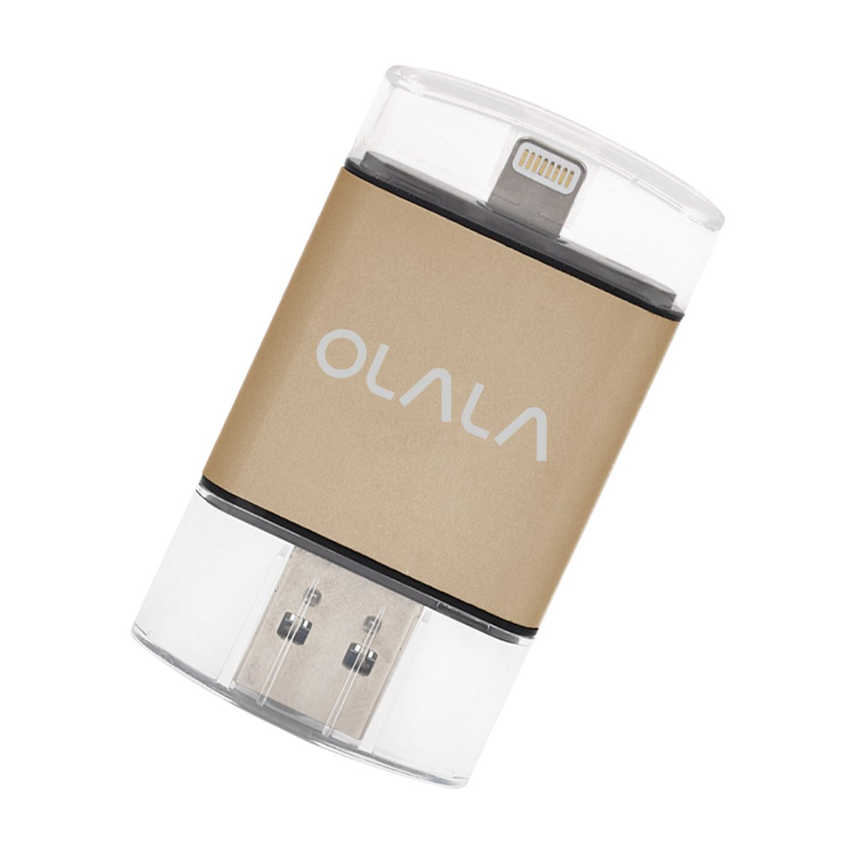 iPhone iPad Flash Drive 64GB USB 3.0 Memory Stick with [Apple MFi Certified] Lightning Connector for iPod iOS Windows Mac, OLALA ID101 External Storage Expansion (Golden)