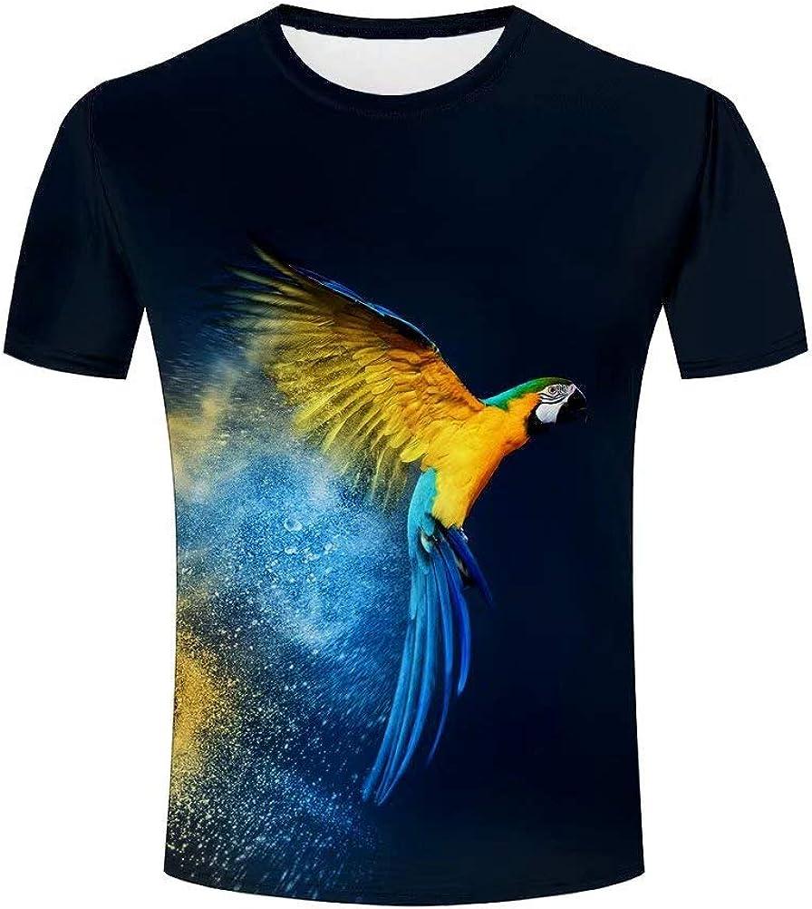 Hombre 3D Graphic Abstract Animales Guacamayo Funny Impreso Camisetas Manga Corta Tees Top Camisa