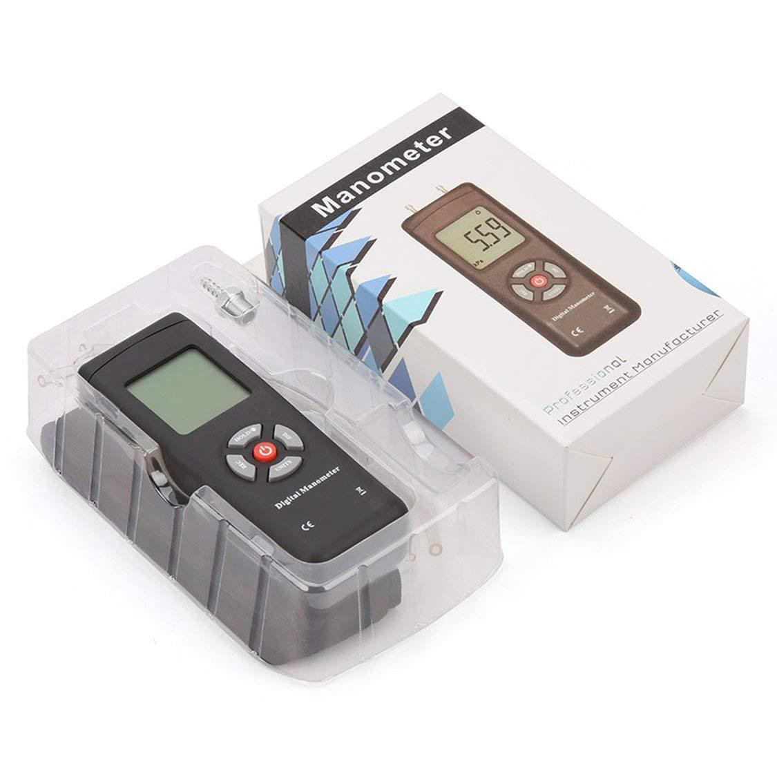 TL-100 Digital Manometer Luftdruckmessger/ät Tragbare Manometer U-Typ Differenzdruckmessger/ät Schwarz