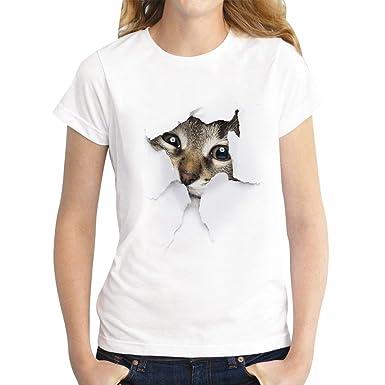 Camisetas Manga Corta Mujer Oversize Camiseta Estampadas Gato Anchas Mujer Cuello Redondo Top Verano Camisas de Señora Camisa Manga Corta Chica Camisetas ...