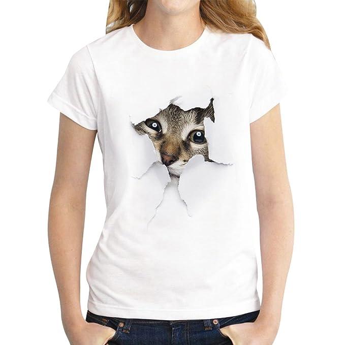 Camisetas Manga Corta Mujer Oversize Camiseta Estampadas Gato ...