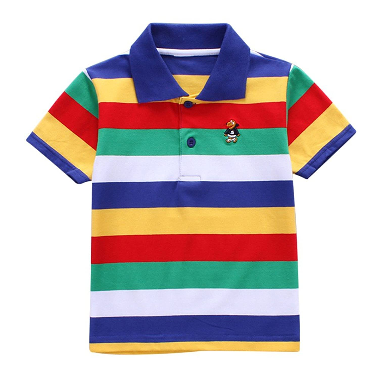 f0be75fb Timall Baby Kids T-Shirt Collar Boys Girls Short Sleeve Striped Polo T-Shirt