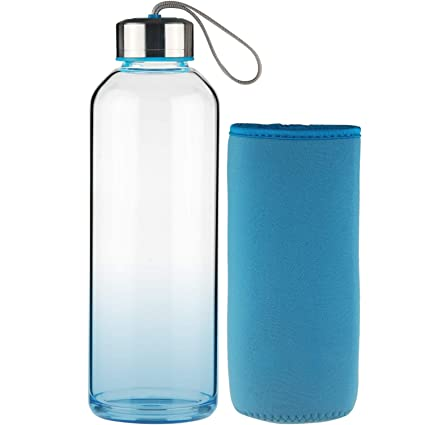 FCSDETAIL Botella de Agua de Cristal sin BPA, Botella de Agua de Vidrio de Borosilicato con Funda de Neopreno con Tapa de Acero Inoxidable 550ml / ...