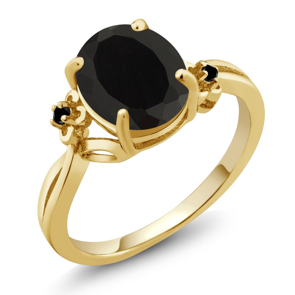 2.22 Ct Oval Black Onyx Diamond 14K Yellow Gold Ring (Ring Size 6) by Gem Stone King