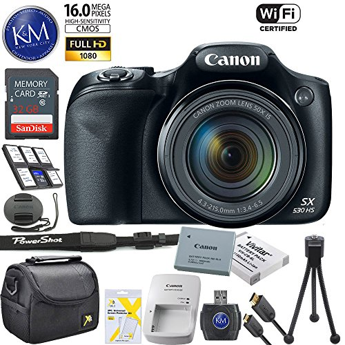 Canon Powershot SX530 HS 16MP Wi-Fi Super-Zoom Digital Camera w/ 50x Optical Zoom Ultimate Bundle with 32GB Memory Card and More