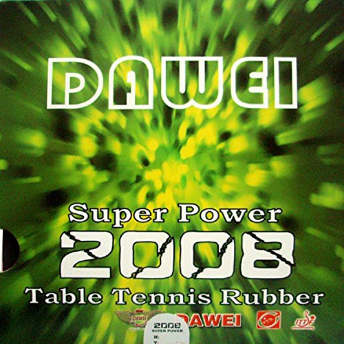 Dawei Super Power 2008 Pips-In Table Tennis Rubber with Sponge (black, 2.2mm)