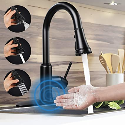 Touchless Motion Sensor kitchen Faucet with Pull Down Sprayer,Soosi Kitchen Faucets Touchless One//3 Hole Matte Black Kitchen Sink Faucets 3-Function Solid Brass Lead Free,5 Years Limited Warranty