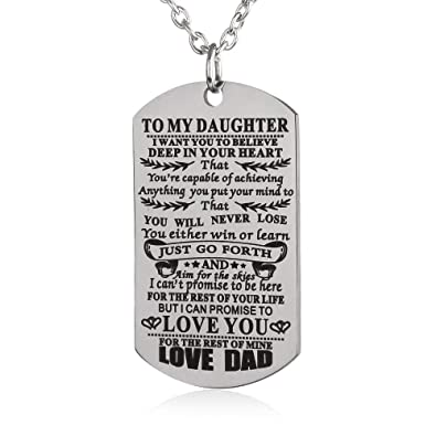 Amazon FAYERXL To My Son Daughter I Want You Believe Love Mom Dad Dog Tag Necklace Birthday Gift Ideas DAD Jewelry