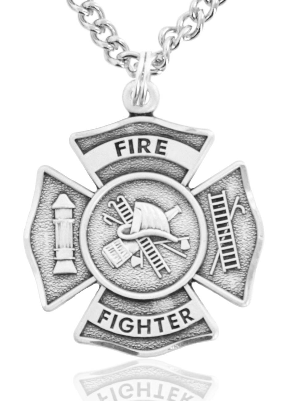 Men's Sterling Silver Firefighter Philippians 4:13 Medal + 24 inch Sterling Silver Chain with Clasp