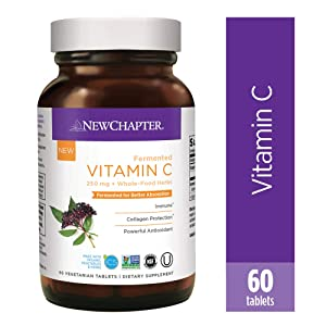 New Chapter Vitamin C, Fermented Vitamin C, One Daily with Whole-Food Herbs + Elderberry for Immune Support + Collagen Protection, 100% Vegan, Gluten-Free, 60Count