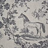 100% Linen Fabric Equestrian Horse Print 'The Noble Horse' in Traditional Toile De Jouy Style - Grey and Anthracite on Soft Cream White Pure Linen Cloth - French Designer Fabric 55 Inches Wide ~ Sold By the Yard