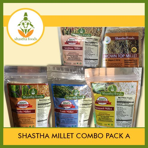 Shastha Millet Combo Pack of A (Little, Kodo, Barnyard,Sorghum & Brown Top Millets) Each item 500 Gms by Shastha Foods