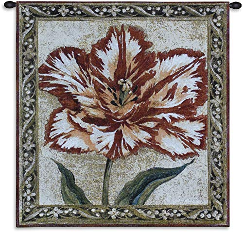 Fine Art Tapestries Tulip Unveiled II Hand Finished European Style Jacquard Woven Wall Tapestry USA Size 30x27 ()