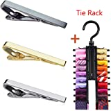 MING KUO 3pcs Tie Bar Clip for Men, Tie Tack Pins Tie Clips Men Silver Gold Black Necktie Bar Pinch Clip Set 2.2 inch Metal Clasps Business Professional Fashion Assorted Designs (Free Tie Rack