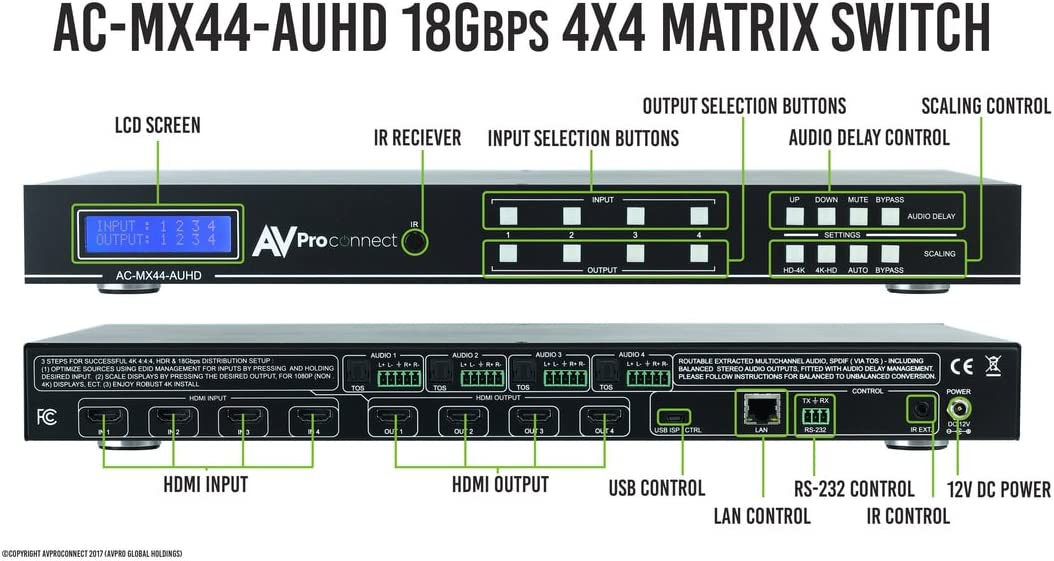 and Built in scalers and Audio delay Full HDR, 4K60 4:4:4 Balanced//Unbalanced AVPro Edge AC-MX44-AUHD 18GBPS 4x4 Matrix w//Dual Audio Deembedding