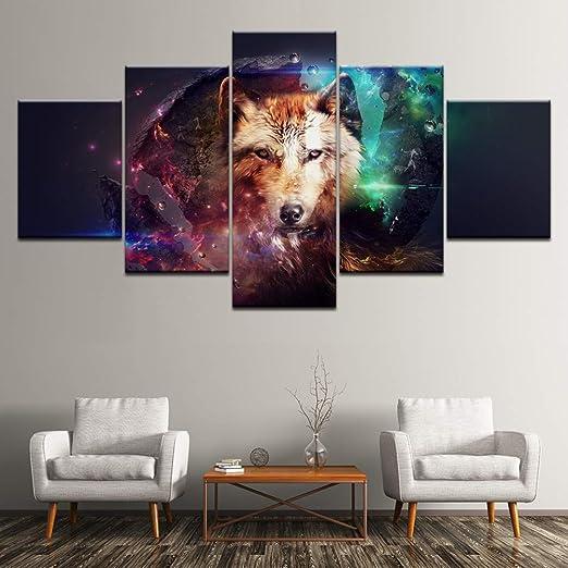 Pintura en lienzo abstracto lobo arco animal 5 Unidades Arte ...